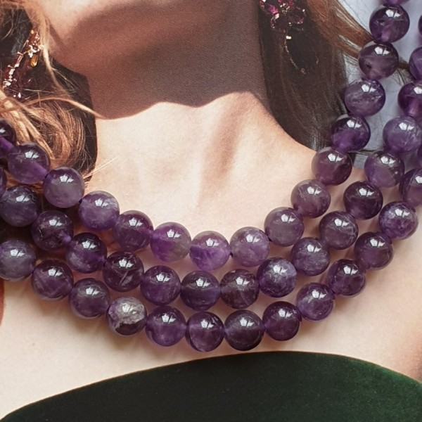 Natural round Amethyst beads 8mm on 38-40cm string