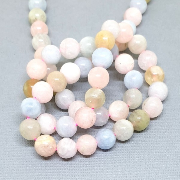 Natural Morganite (pink Beryl) grade A 6mm beads on 38-40cm string