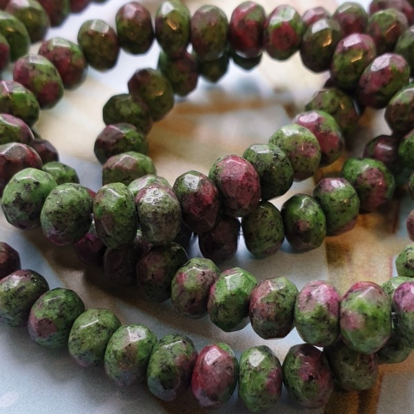 8x5mm Faceted natural Ruby in Zoisite beads on 38-40cm string