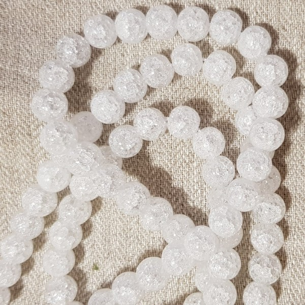 10mm Mountain Crystal crackle beads on 38-40cm string