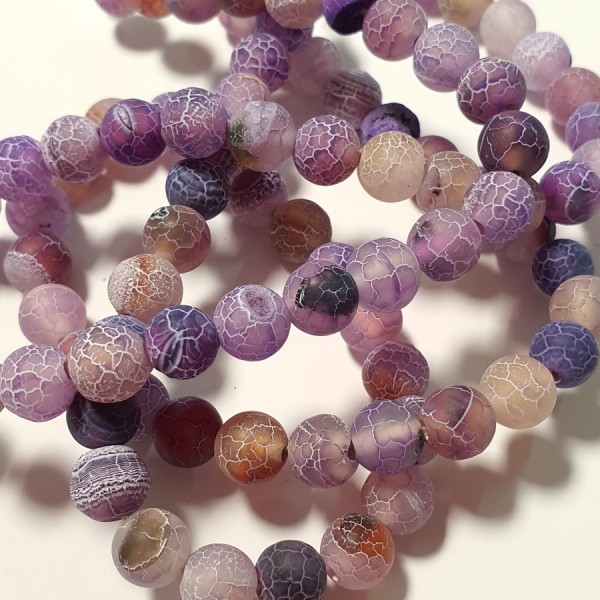 Matted agate purple color with fire-crackle effect 8mm on 38-40cm string