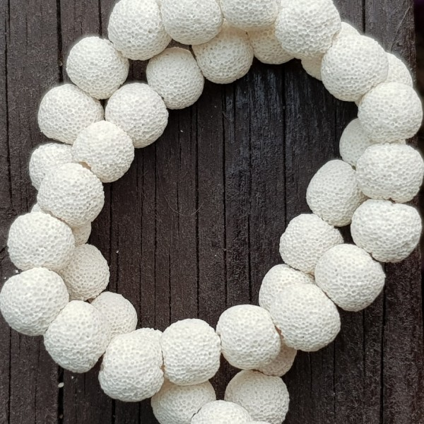12mm Dyed White Natural Lava Beads on 38-40cm string
