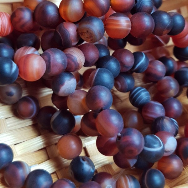 Natural matted agate light brown color beads 8mm on 38-40cm string