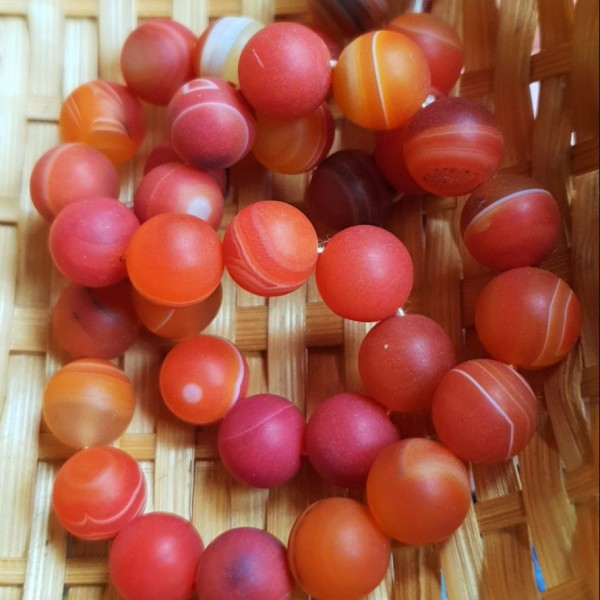Natural matted agate orange color beads 10mm on 38-40cm string