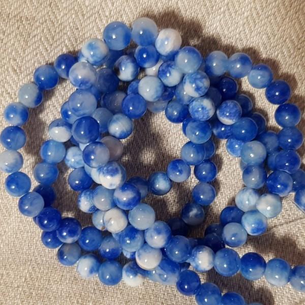 Round Persia Blue Jade beads 10mm on 38-40cm string