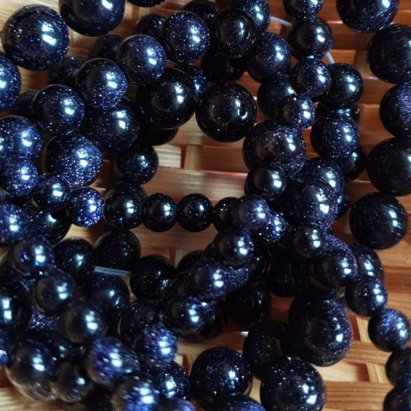 Blue sandstone beads 6mm synthetic on 38-40cm string