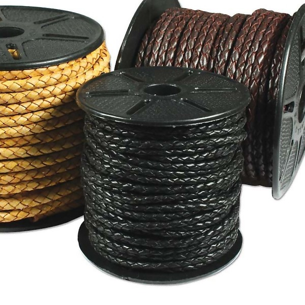 5mm Braided leather cord - Black (x10cm)