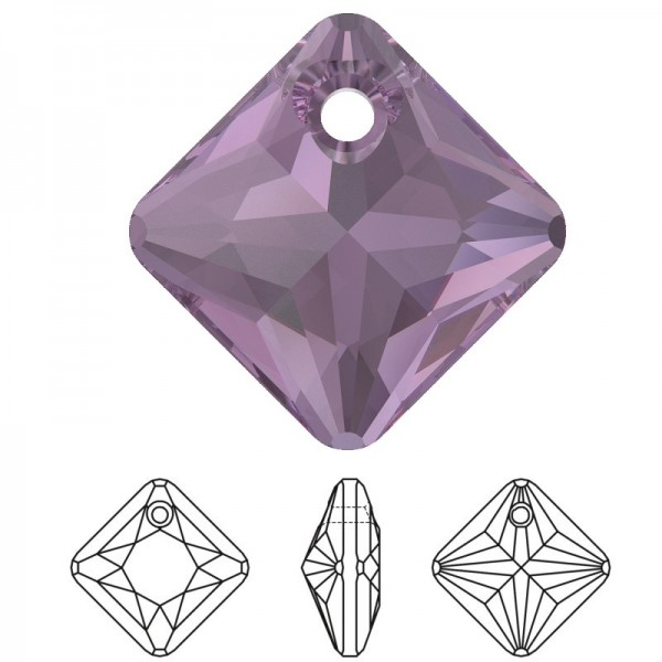SWAROVSKI 6431 Princess Cut Pendant 16mm Amethyst (204) (x1)