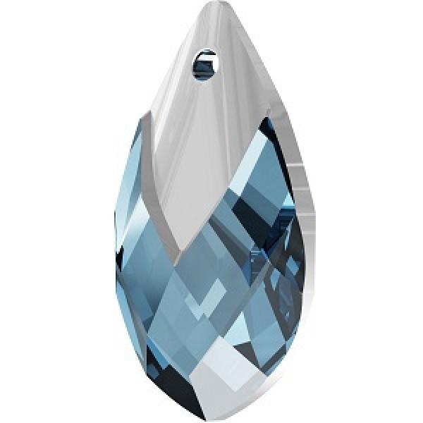 SWAROVSKI 6565 Metallic Cap Pendant 18mm Aquamarine Light Chrome (x1)