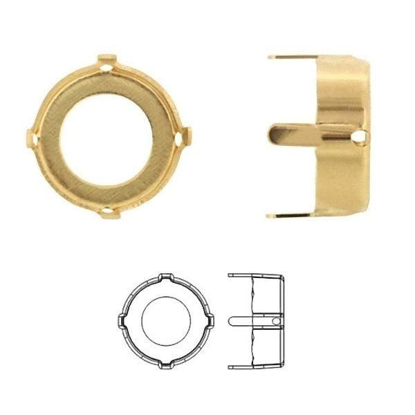 16mm Metal Setting for SWAROVSKI 1122 Rivoli, gold pltd (x1)