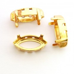 Setting for 10x5mm SWAROVSKI 4228 Xilion Navette, gold plated (x1)