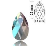 SWAROVSKI 6106 Pear Shape Pendant 22mm Crystal Shimmer (001 SHIM) (x1)