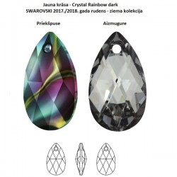SWAROVSKI 6106 Pear Shape Pendant 22mm Crystal Rainbow Dark (x1)