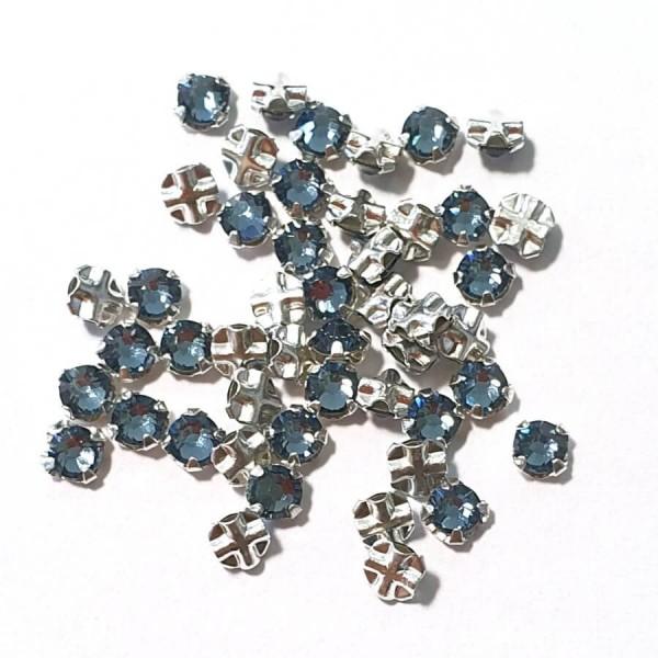 Denim Blue F ss12 SWAROVSKI 53100 Rose Montees Silver Brushed (x10)
