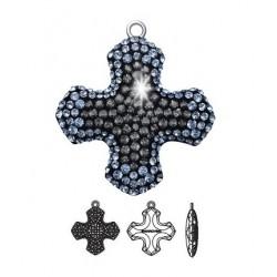 SWAROVSKI Pavé Greek Cross Pendant 26mm Light Sapphire/Crystal Silver Night (x1)