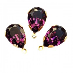4320 14x10mm Amethyst F Pear shape Fancy stone in setting w/loop, gold plt (x1)