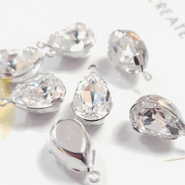 4320 14x10mm Crystal F Pear shape Fancy stone in setting w/loop, rhodium plt (x1)