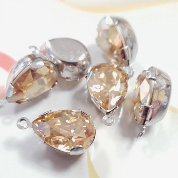 4320 14x10mm Crystal Golden Shadow F Pear shape Fancy stone in setting w/loop, rhodium plt (x1)