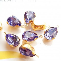 4320 14x10mm Tanzanite F Pear shape Fancy stone in setting w/loop, gold plt (x1)