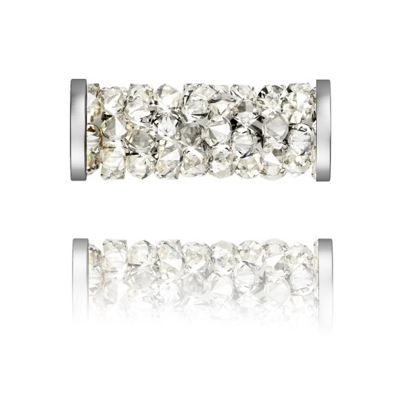 SWAROVSKI 5950 Fine Rocks Tube 15mm 001MOL Steel (x1)