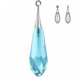 44mm Aquamarine Pure Drop Pendant (half hole)-Rhodium trumpet cap (x1)