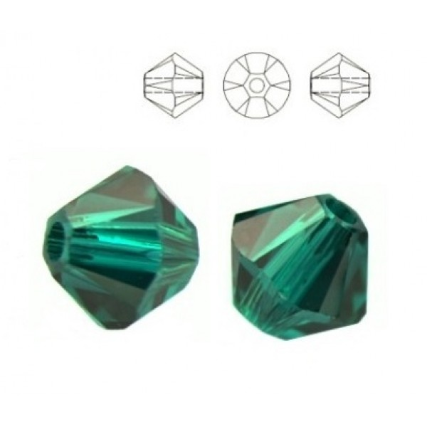 SWAROVSKI 5328 Bicone 4mm Emerald (x10)