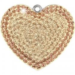 SWAROVSKI Pavé Heart Pendant 26mm Silk/Ligth Peach (x1)
