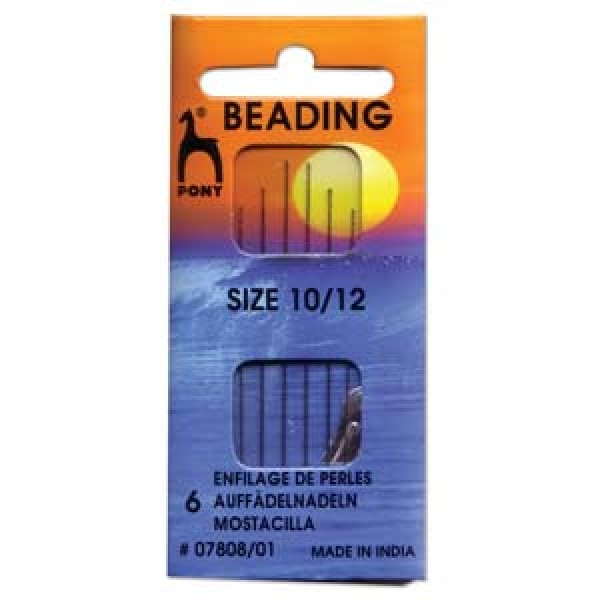 Pony beading needles S.10/12 (x6)