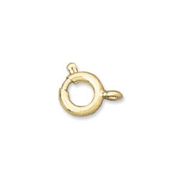 6mm Spring ring clasp, gold plated brass (x1)