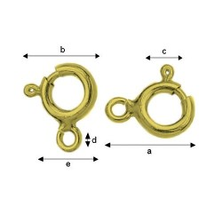 24K gold plated 7mm Sterling silver spring ring clasp (x1)