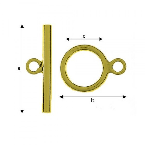 24K gold 0,4µm 9mm Toggle set, Sterling Silver AG-925 (x1)