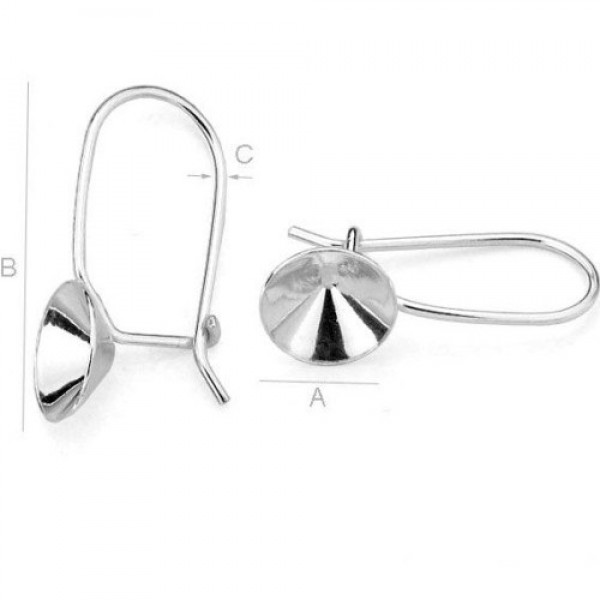 Sterling silver (925) ear wire w/setting for ss39 1088 Xirius Chaton (x2)