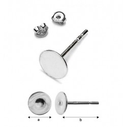 Earring studs with 5mm flat disc & guards, Sterling Silver AG-925 (x1)