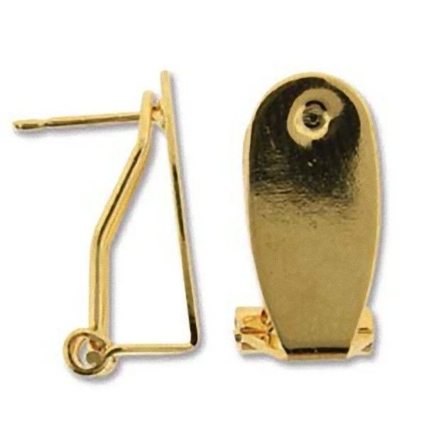 21x9mm Earclip with post, gold plated (x2)