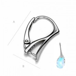 Sterling silver ear wire for SWAROVSKI ELEMENTS, Rhodium plated (x2)