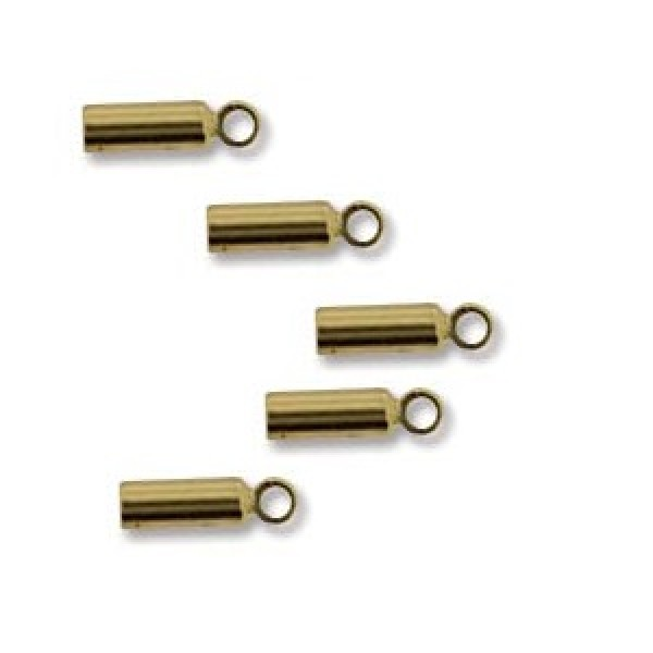 Metal end cap with eye ± 7x2mm gold plated (x1)
