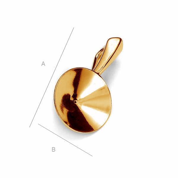 24K gold plated Pendant setting for 14mm SWAROVSKI 1122 Rivoli, Sterling Silver AG-925 (x1)