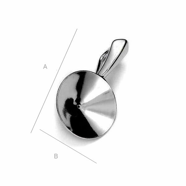 Pendant setting for 12mm SWAROVSKI 1122 Rivoli, Rhodium plated AG-925 (x1)