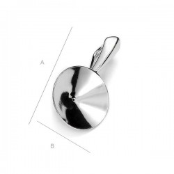 Pendant setting for 14mm SWAROVSKI 1122 Rivoli, Sterling Silver AG-925 (x1)