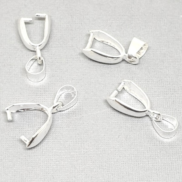 20mm Drop pendant clasp with loop silver plated (x1)