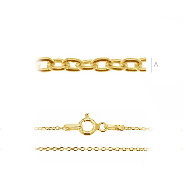 50cm Curb Chain 24K 0.4um gold plated.925 silver (x1)