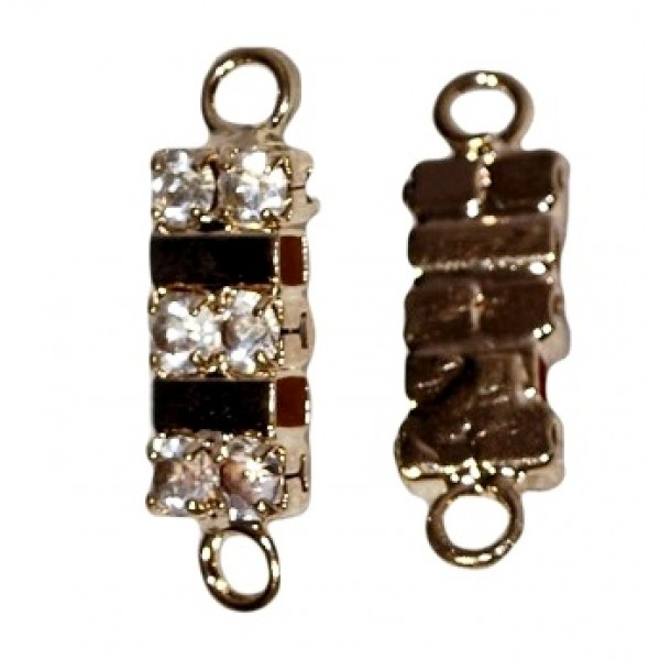 Rectangle connector with rhinestones, gold (x1)