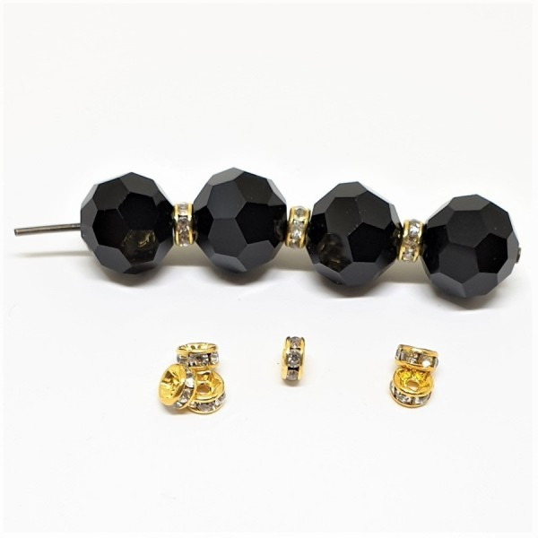 4mm CRYSTAL strass spacer bead in gold color metal (x1)