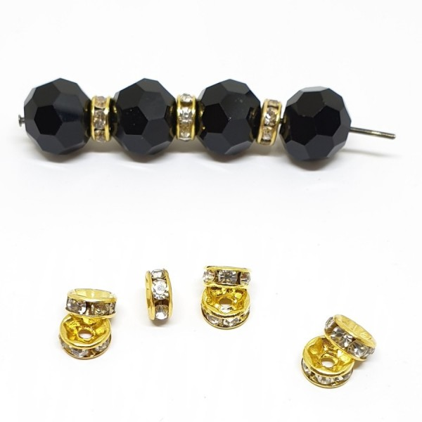 6mm CRYSTAL strass spacer bead in gold color metal (x1)