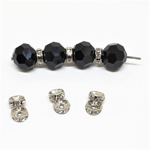 6mm CRYSTAL strass spacer bead in white rhodium color metal (x1)