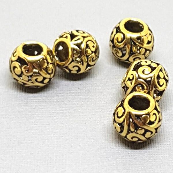 10mm Decorative spacer bead antique gold color (x1)