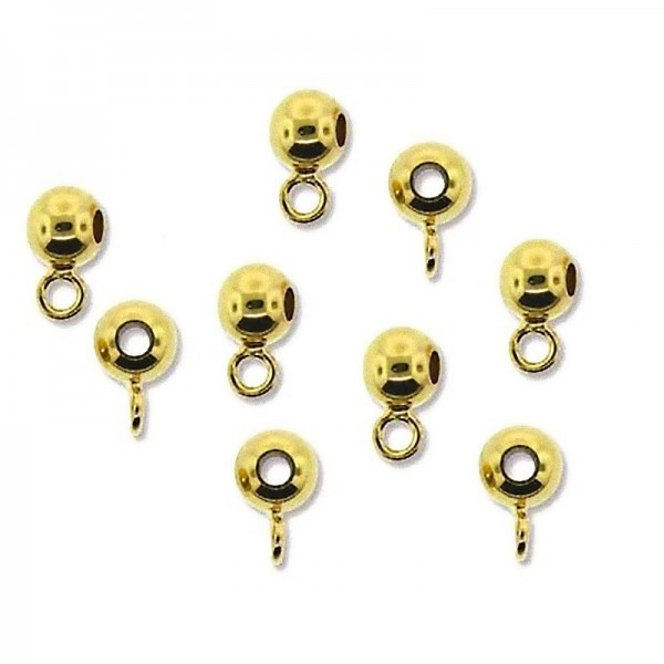 5mm Metal bead- pendant bail gold plated with closed loop (x1)
