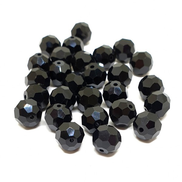 10mm Faceted Glass crystal bead Jet (x1)