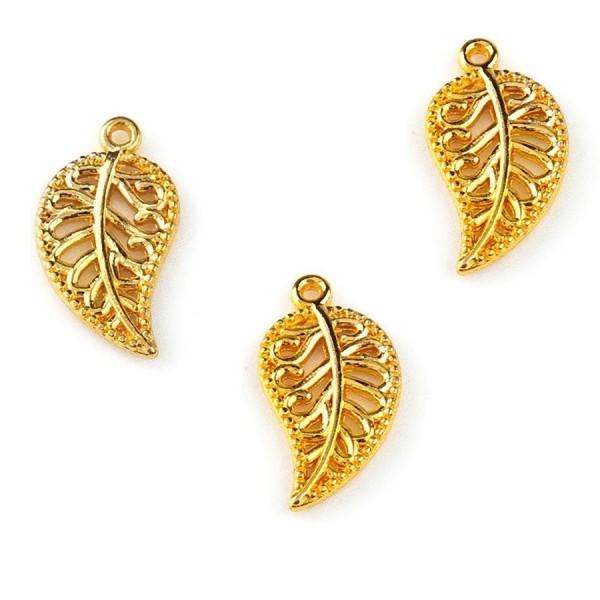 Metal pendant/charm LEAF gold color (x1)