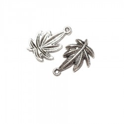 Metal pendant/charm LEAF III antique silver color (x1)
